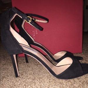 Valentino black ankle strap heels. 90 mm.